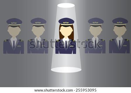 Women in pilot uniform - stock vector