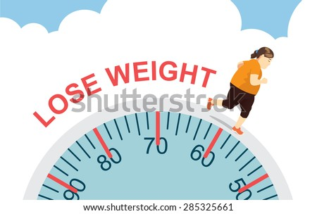 Women lose weight with jogging on big scale, health care concept - stock vector