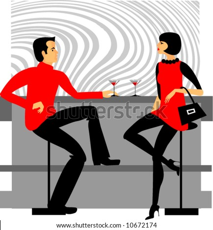 women, men, bar - stock vector