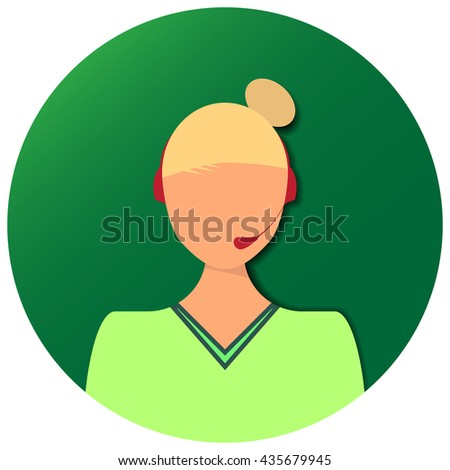 Women operator of hot line drawn in modern flat design style - stock vector