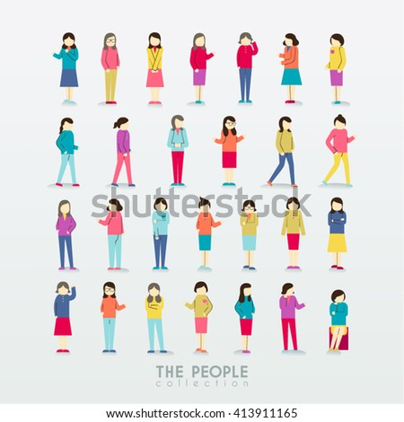 Women People Icon with Different Poses Collection Vector Design - stock vector