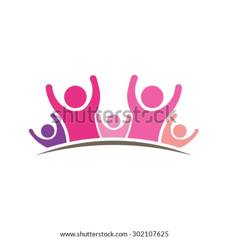 Women People logo. Graphic of five persons  - stock vector