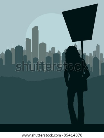 Women protest in front of city background vector