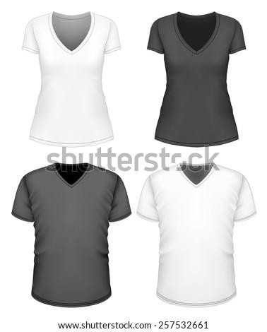 Women's and men's v-neck t-shirt short sleeve. Vector illustration. - stock vector
