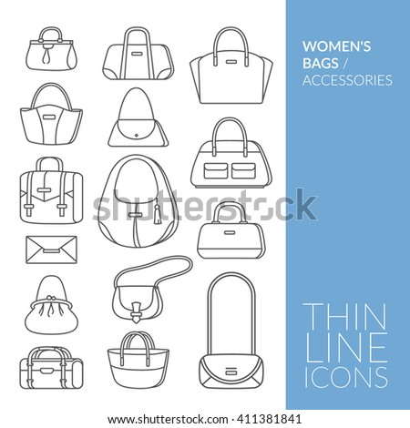 Women's bags and accessories. Set with thin line icons. Vector illustration. EPS 10 - stock vector
