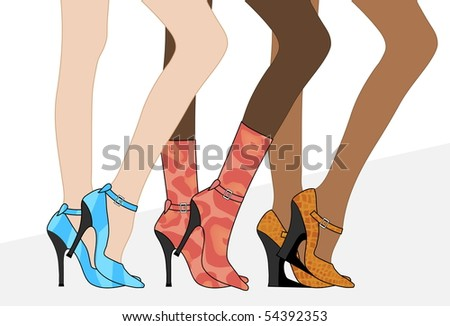 Women`s beautiful legs in shoes and boots. Vector Illustration. - stock vector