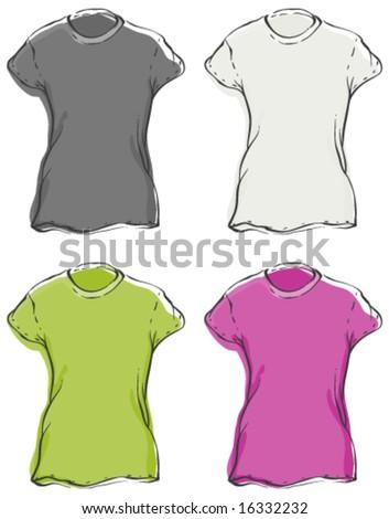 Womenâ??s Blank T-Shirts - stock vector