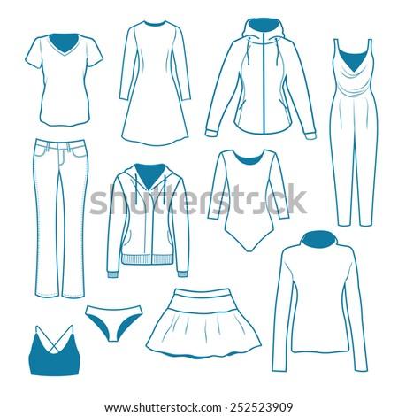 Women s clothes - stock vector