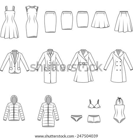 Women's clothes , Garment illustration , Vector - stock vector