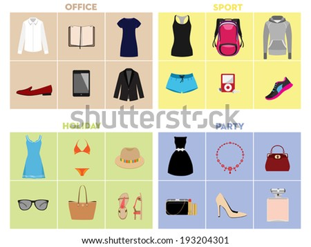Women's clothing and accessories.  Set of women's clothing to events. Vector illustration.