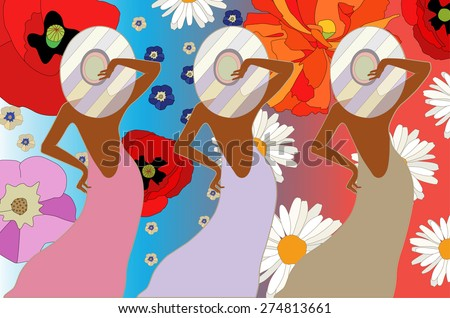 Women's clothing collection on a floral background,, perfume, Fashion, art  - stock vector