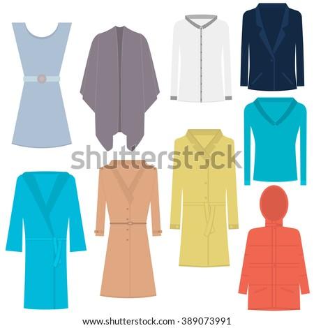 Women's clothing vector. Women's fashion vector collection. Poncho vector. - stock vector