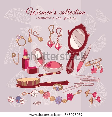 Women's collection make up cosmetics and jewelery, hand drawn female fashion accessories