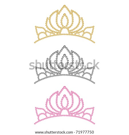 Women's crown. Set of three colors. Vector illustration.