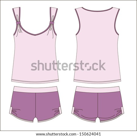 women's cute pajamas  - stock vector