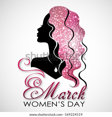 Women's Day. Vector Greeting Card with Woman Silhouette. The 8th of March