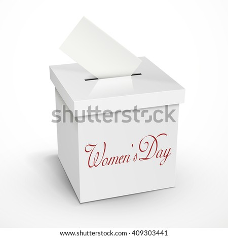 women's day words on the 3d illustration white voting box isolated on white background - stock vector