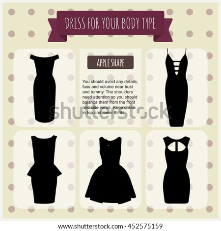 Women's dresses.Vector illustration with info-graphics elements.Dresses for all women body types pear, apple,hour glass,rectangle.How to Find the dress for Your Body Shape and choose the right dress. - stock vector