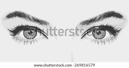 Women's eyes vector illustration monochrome - stock vector