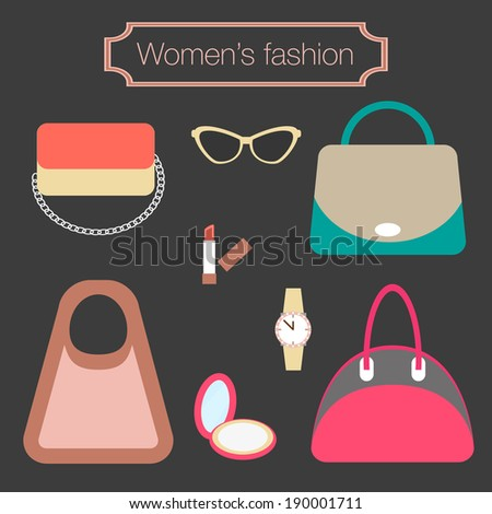Women's fashion collection of bags and accessories - vector illustration - stock vector