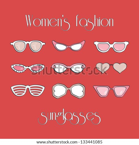 Women's fashion isolated sunglasses vector set