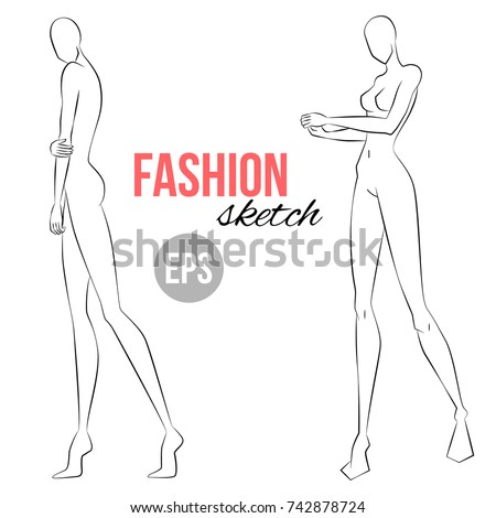 Womens figure sketch different poses template stock vector womens figure sketch different poses template for drawing for designers of clothes vector pronofoot35fo Gallery