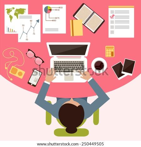 Women's flat desktop - stock vector