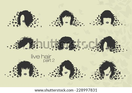 women's hairstyles and hair with loosened butterflies - stock vector