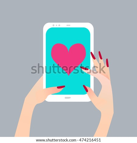 Women's hand holding smart phone with Heart on screen. Finger touch screen for banner, web site. Colorful Flat style vector illustration