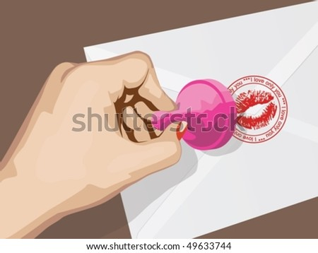 Women's hand puts a stamp on a letter - stock vector