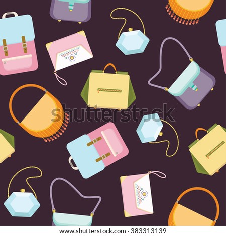 Women's handbags purses seamless background pattern - flat style vector illustration - stock vector