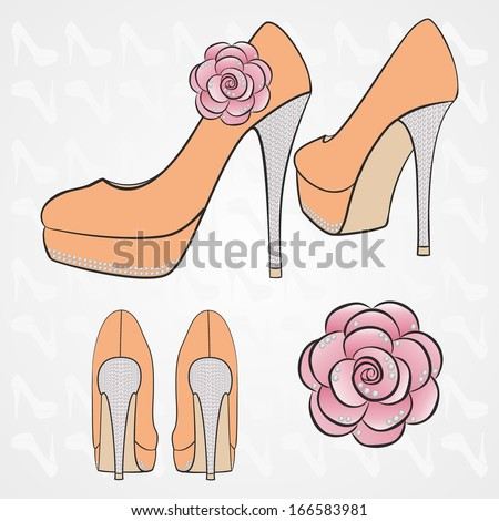 women's high-heeled shoes with decor - stock vector