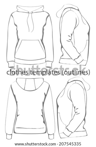 Women's hooded sweatshirt with pocket (back, front and side view). Outlines. Vector.  - stock vector