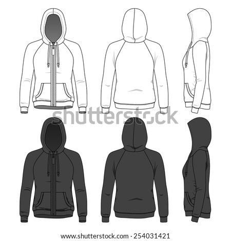 Women's hoodie with zipper and raglan sleeves in front, back and side views. Blank clothing templates in white and black colors. Fashion set. - stock vector