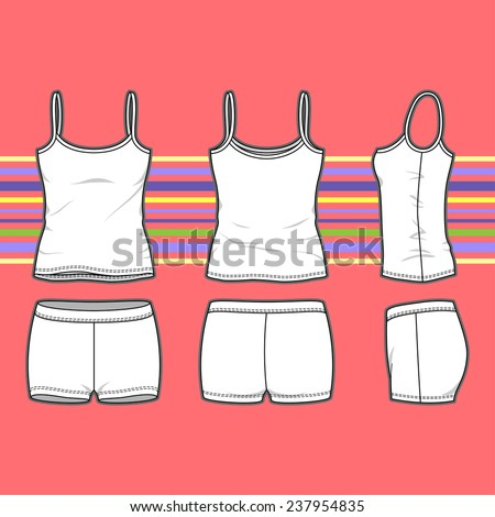 Women's set in front, back and side views. Blank templates of top and shorts. Casual style. Vector illustration on the striped background for your fashion design.  - stock vector