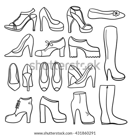 Women's shoes collection - stock vector