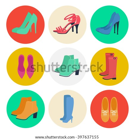Women's Shoes. Women's Fashion. Seasonal Shoes. Icons Set. Boots, Shoes. Vector Illustration. Flat style - stock vector