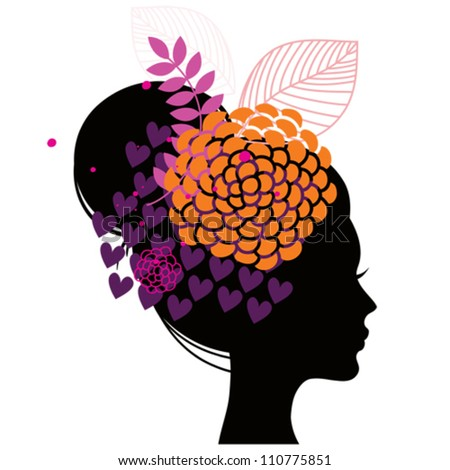 Women's silhouette with abstract flowers - stock vector