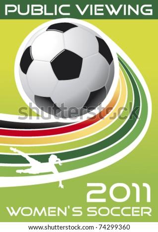 women's soccer, vector poster - stock vector