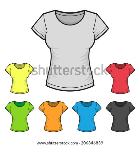 Women's T-shirt Design Template Color Set. Vector illustration - stock vector