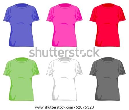 Women's t shirts set - stock vector