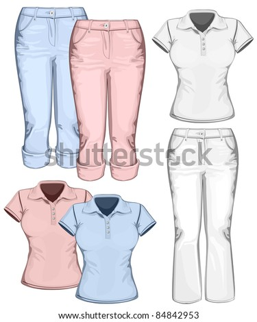 Women's trouser jeans and polo-shirt design templates. vector illustration - stock vector