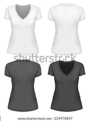 womens vneck tshirt design template front stock vector 224970847 shutterstock. Black Bedroom Furniture Sets. Home Design Ideas