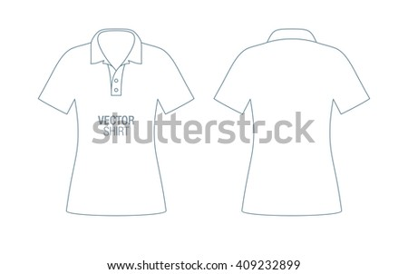 Women's vector polo shirt template. Girls short sleeve classic shirt silhouette. - stock vector