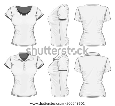 Women's white short sleeve polo-shirt and t-shirt design templates (front, back, and side views). Vector illustration. - stock vector