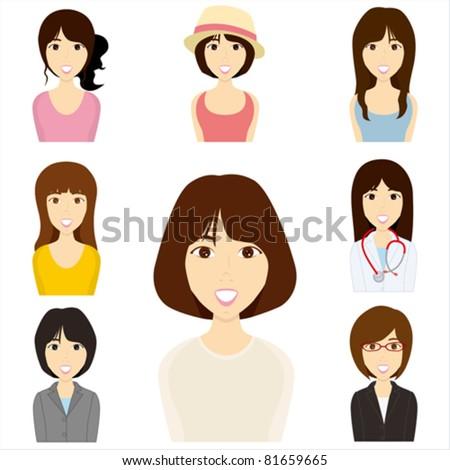 Women set. Illustration vector. - stock vector