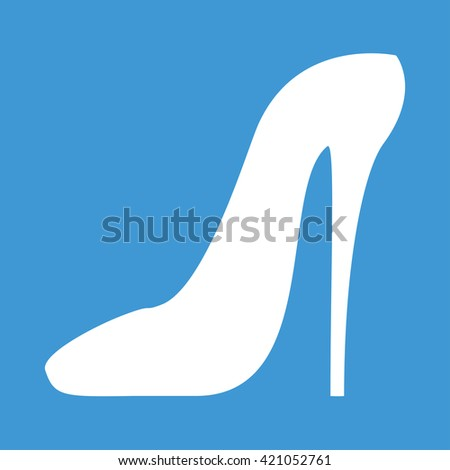 Women shoe high heel icon on blue background. - stock vector
