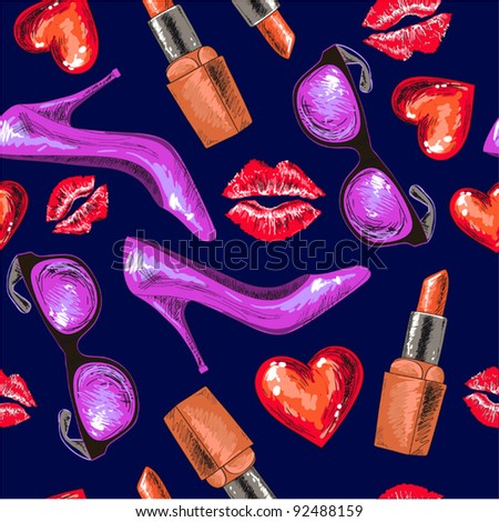 Women shoe, lipstick, kiss,heart and sunglasses on dark background (continuous,) - stock vector