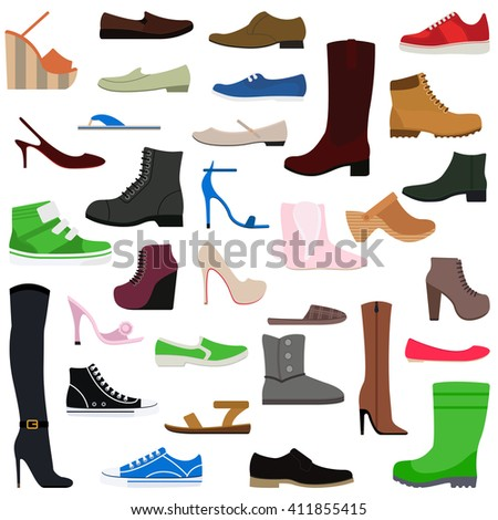 Women shoes isolated collection of various types of female footwear vector illustration. Shoes isolated fashion footwear and leather shoes isolated. Shoes isolated elegance sport casual accessory. - stock vector