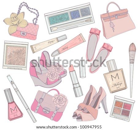 Women shoes, makeup and bags element set. Cosmetic product, footwear, purses and accessories vector illustration. - stock vector